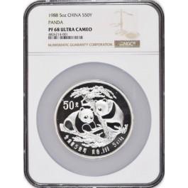 1988 50 Yuan People's Republic Of China 5 oz .999 Proof Silver Panda NGC PF68 UC