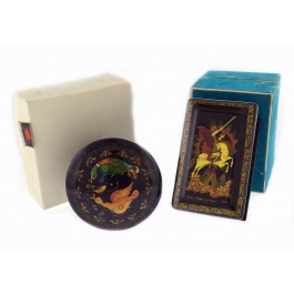 Lot Of 2 Vintage Palekh Russian Artisan Lacquer Wood Fairy Tail Trinket Boxes 13