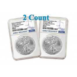 Lot Of 2 - 2020 (P) $1 Silver American Eagle NGC MS69 Early Releases ER Live Ready to Ship