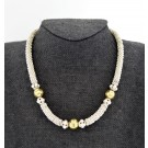 """Vintage Laura Gibson Sterling Silver Vermeil Granulated Bead Toggle Necklace 17"""""""