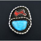 Vintage Old Pawn Navajo Oxidized Sterling Silver Turquoise Coral Ring Size 7.5