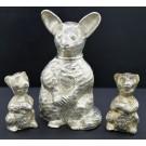 Vintage Silver Plated Bear Cubs Brush Tail Possum Salt Shakers Pepper Grinder