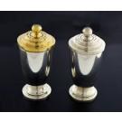 Vintage MCM Pair Of Tiffany & Co Sterling Silver Vermeil Salt & Pepper Shakers