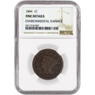 1844/81 1C Braided Hair Large Cent N-2 NGC Fine Details Environmental Damage