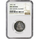 1870 25C Seated Liberty Quarter Silver NGC UNC Details OBV Graffiti Cleaned