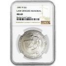 1997 P $1 Law Officers Memorial Commemorative Silver Dollar NGC MS69