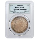 1896 $1 Morgan Silver Dollar PCGS MS61 Titled Partial Collar Mint Error Coin