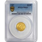 1907 $2.50 Liberty Head Quarter Eagle Gold PCGS Secure Gold Shield MS63 Coin