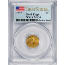 2010 $5 1/10 oz Gold American Eagle PCGS MS70 First Strike Flag Label Coin