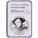1999 P $1 Dolley Madison Commemorative Silver Dollar NGC PF70 UC