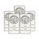 Lot Of 5 Silvertowne American Buffalo 10 oz .999 Fine Silver Bars NEW SEALED