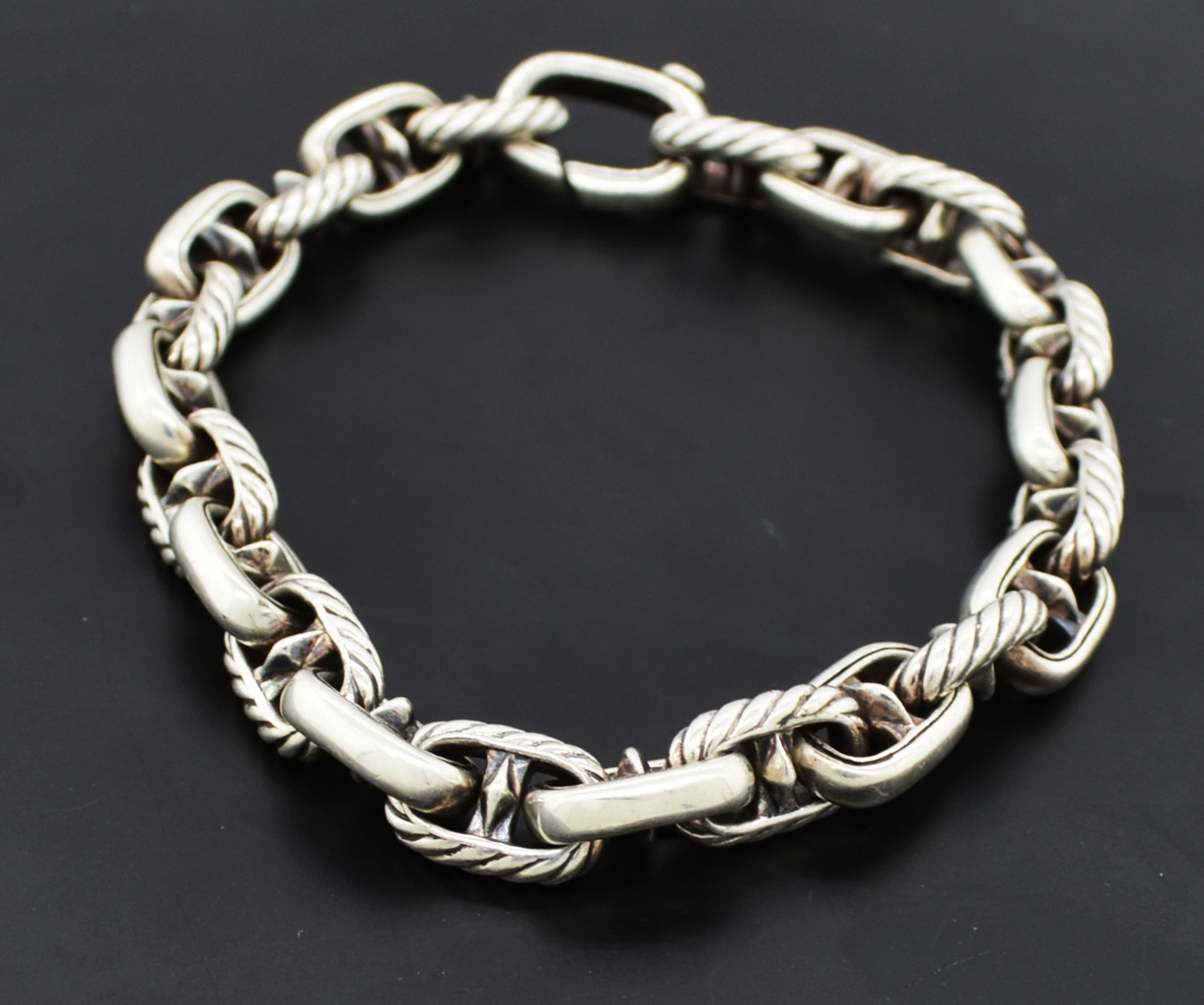 David Yurman Cable Clic Maritime Anchor Link Sterling Silver Bracelet 7 5