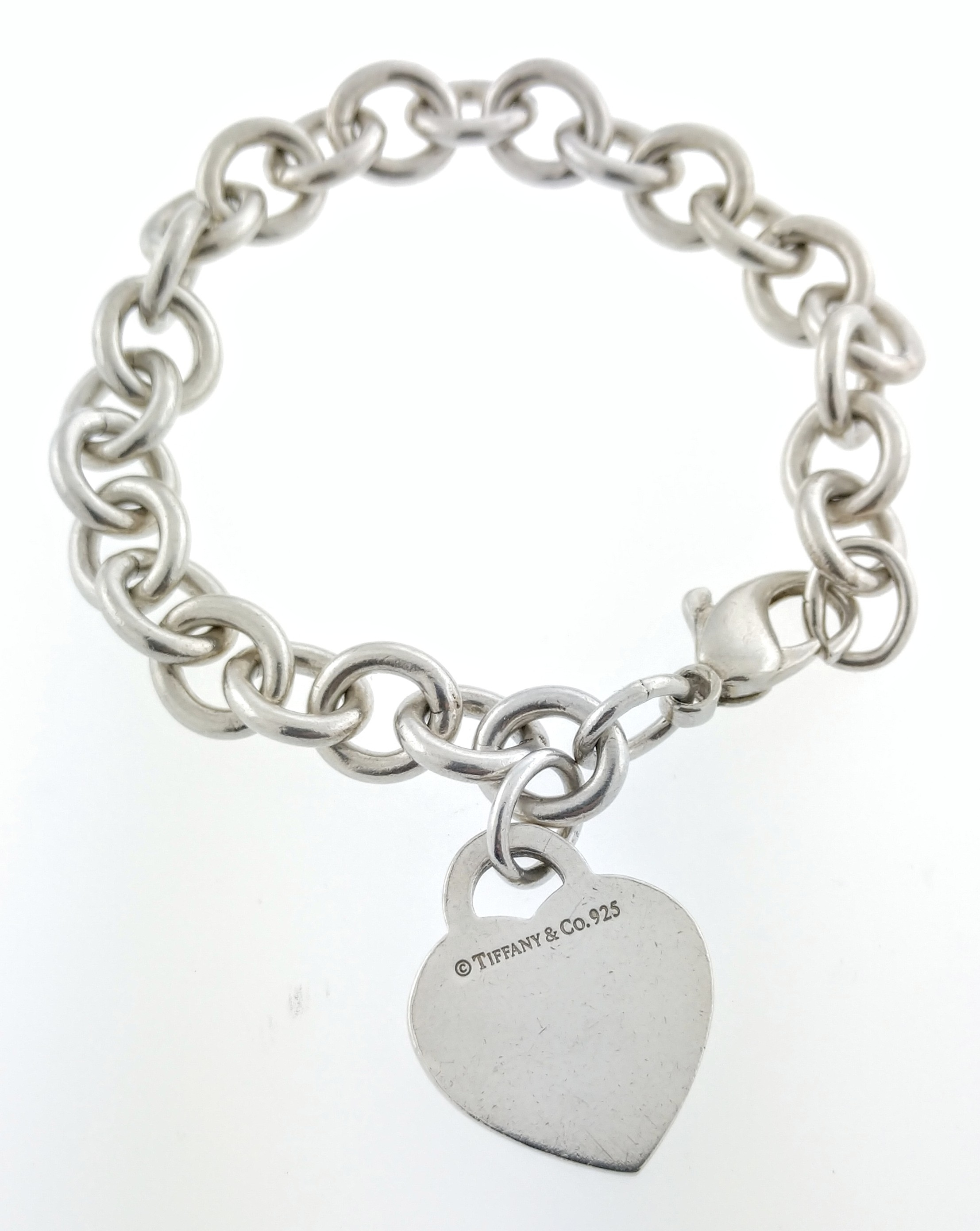 30983318c Details about Please Return To Tiffany & Co .925 Sterling Silver Heart Tag  Charm Bracelet 7.5