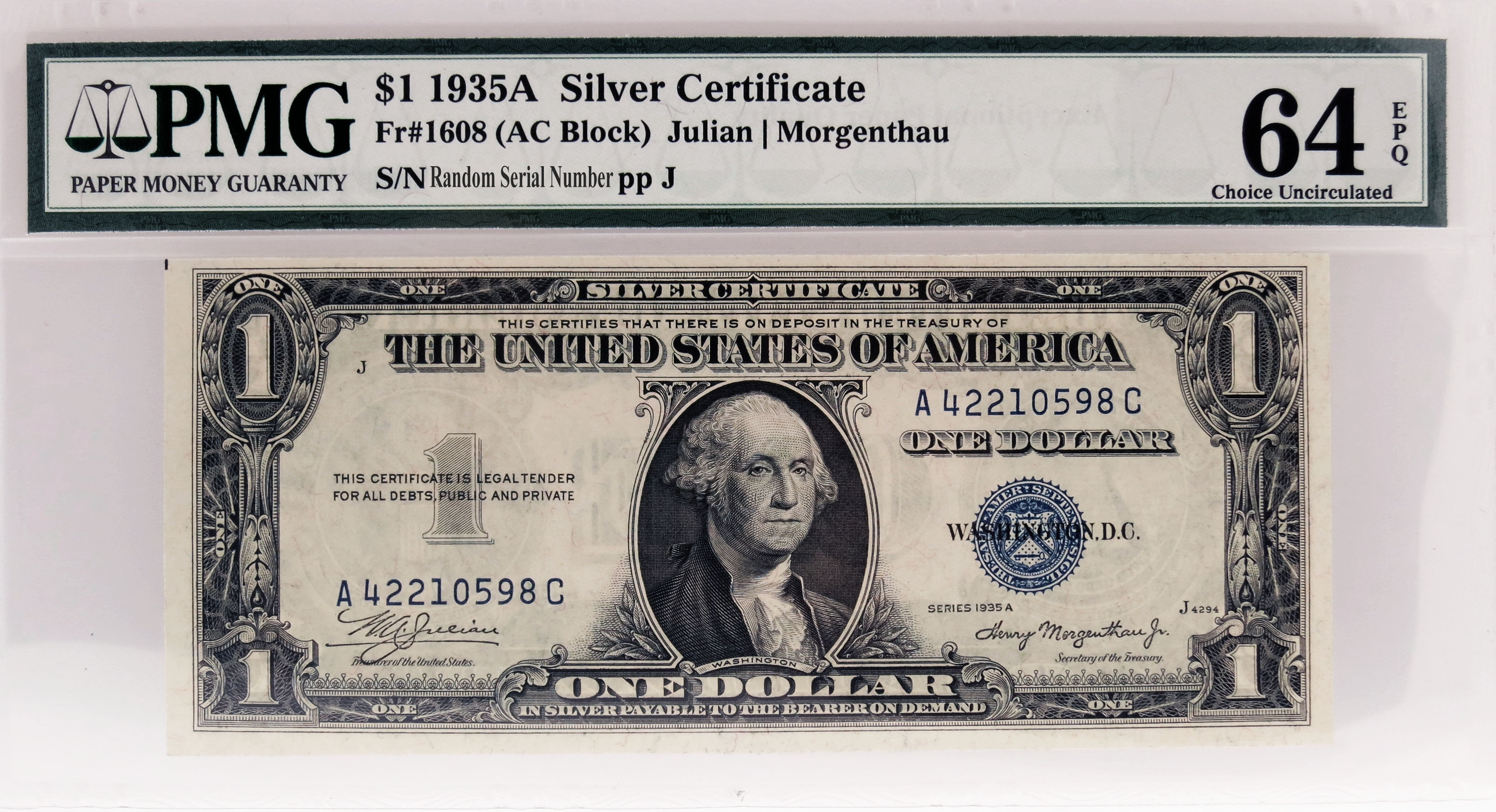 1935 A 1 Small Size Silver Certificate Note Fr1608 Ac Block Pmg 64