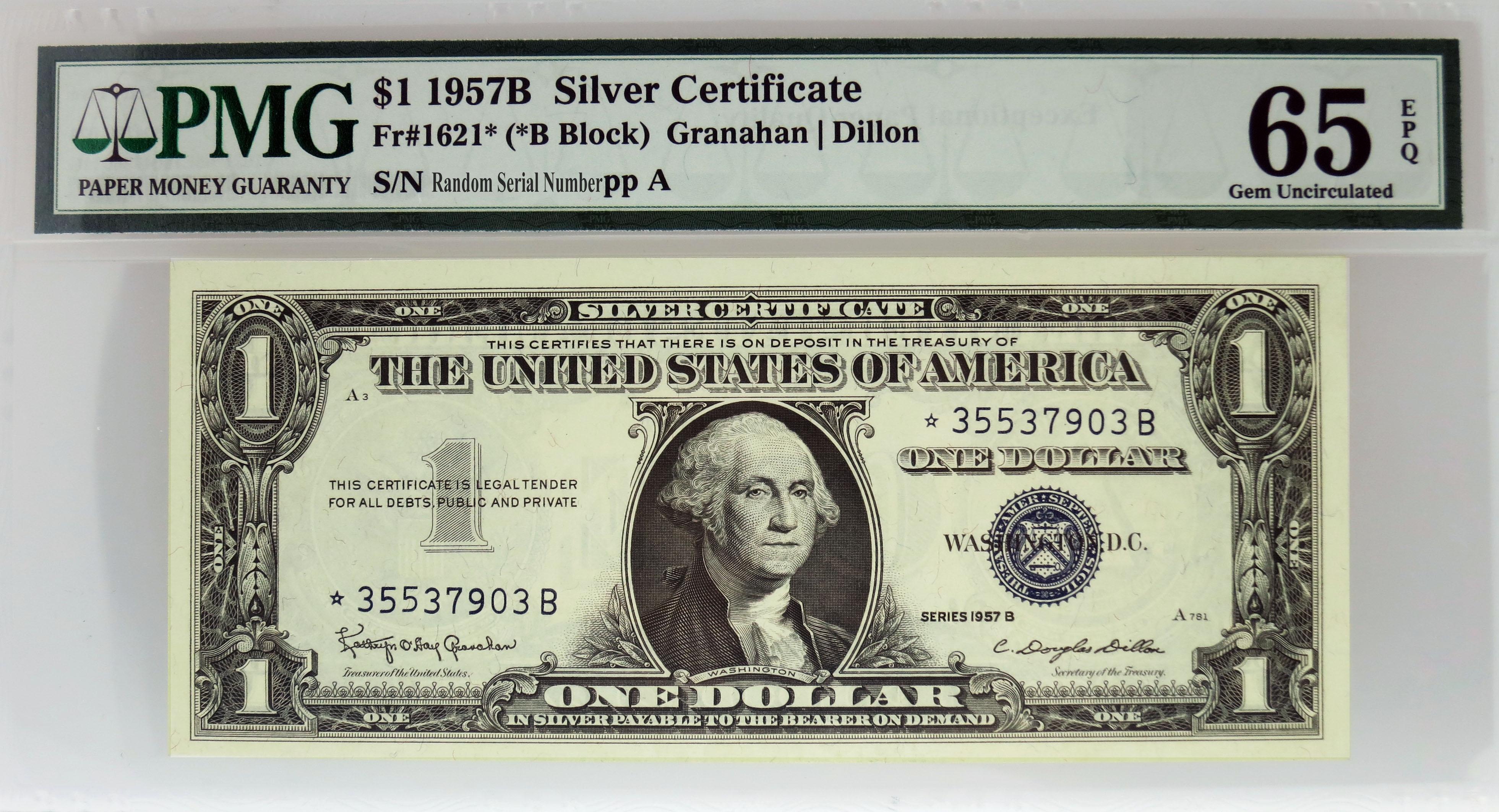 1957 B 1 Silver Certificate Star Note Fr1621 B Block Pmg 65 Gem
