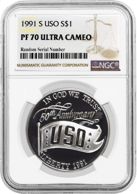 1991 S $1 USO Commemorative Silver Dollar NGC PF70 UC