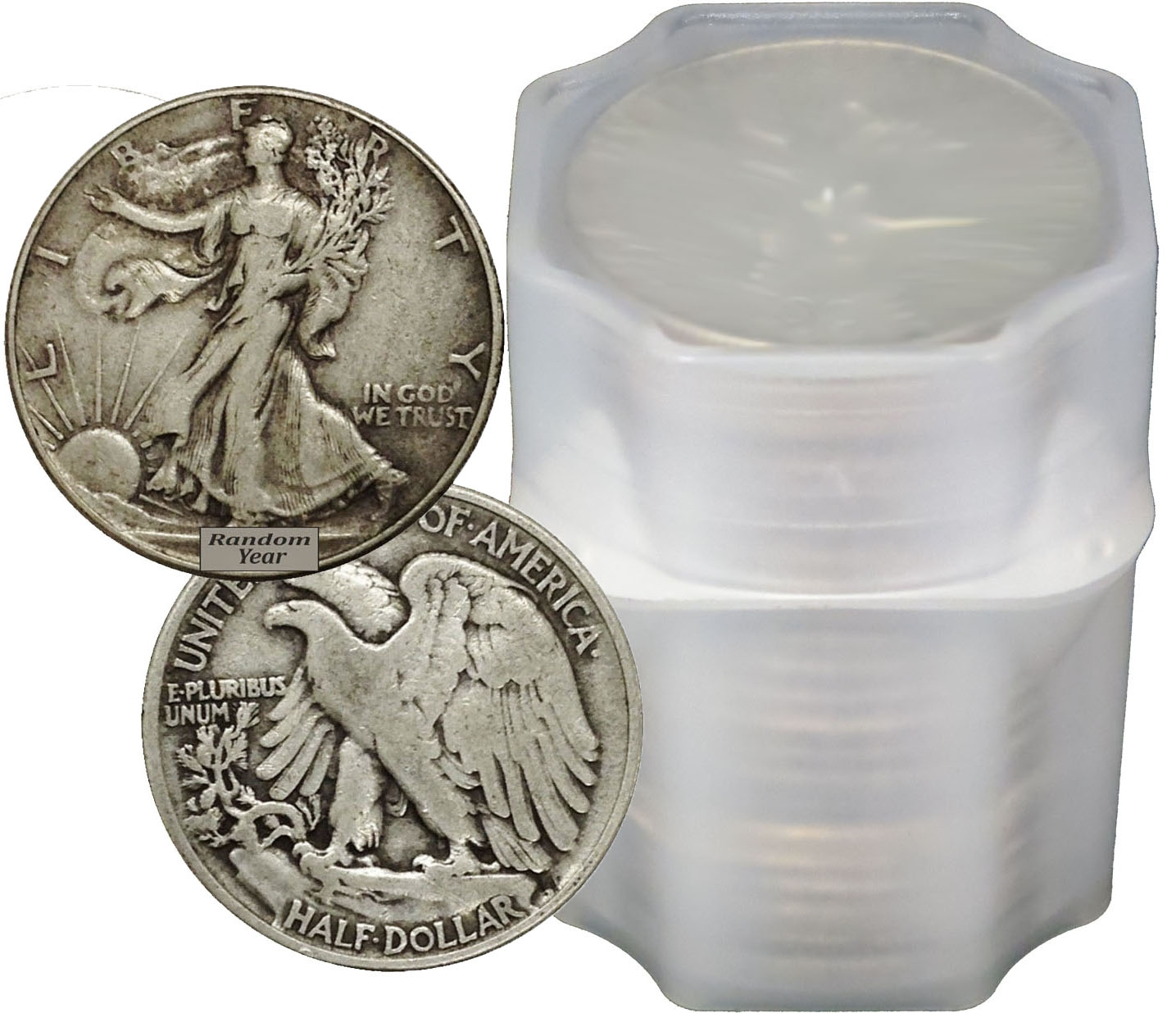 Roll of 20 $10 Face 90/% Silver Walking Liberty Half Dollars No Date